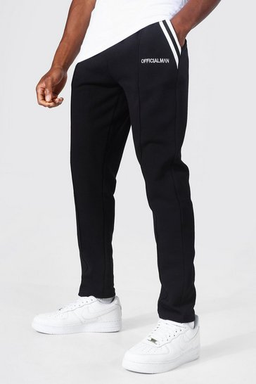 Black Slim Fit Pocket Tape Detail Pintuck Jogger