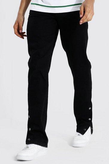 Black Tall Straight Leg Popper Hem Jean
