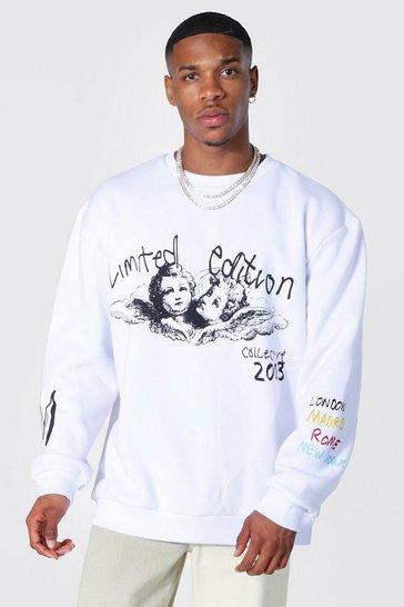 White Oversized Cherub Graffiti Sweatshirt