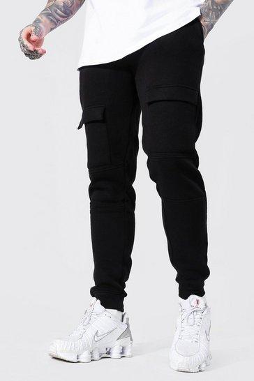 Black Slim Front Pocket Panelled Cargo Jogger