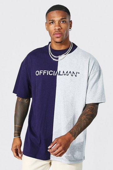 Navy Oversized Man Official Spliced T-shirt