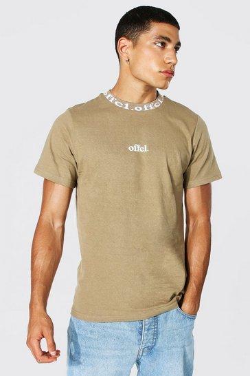 Coffee brown Offcl Man Jacquard Neck T-shirt