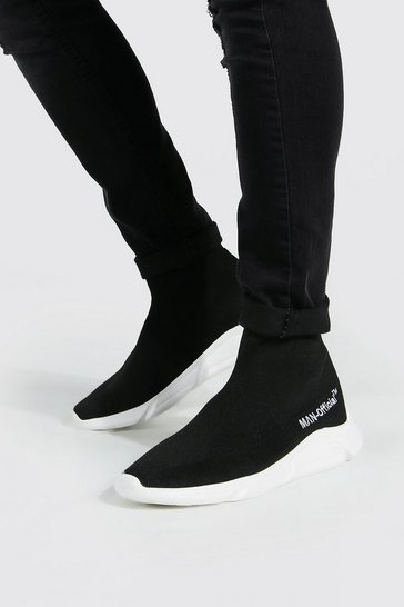 Black Official Man Knitted Sock Boot