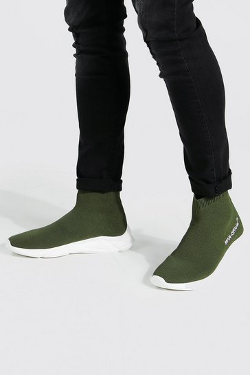 Khaki Official Man Knitted Sock Boot
