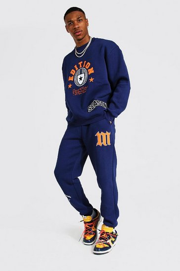 Navy Oversized Edition Varsity Sweater Tracksuit