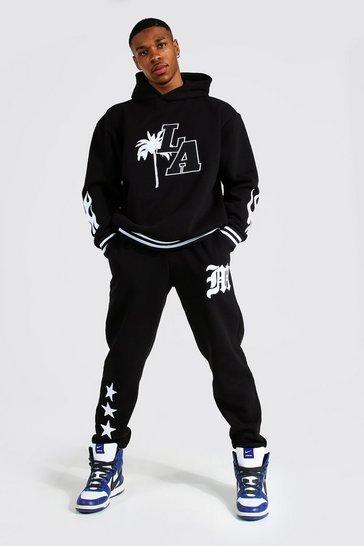 Black Oversized La Varsity Badge Hooded Tracksuit