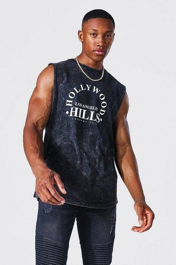 Charcoal grey Oversized Hollywood Hills Acid Wash Tank