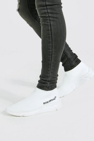 White Official Man Knitted Sock Boot