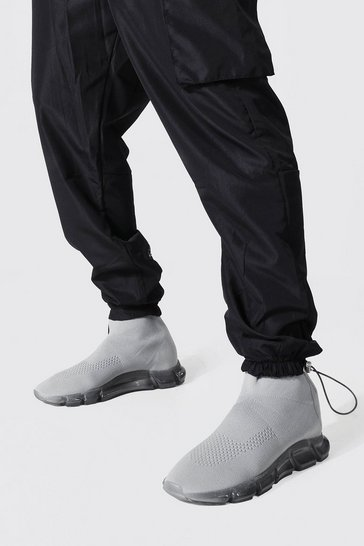 Grey Clear Sole Sock Boot