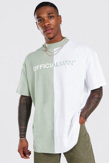 Sage green Oversized Man Official Spliced T-shirt