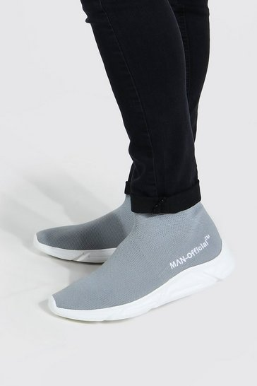 Grey Official Man Knitted Sock Boot