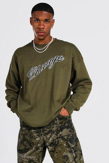 Khaki Oversized Chicago Varsity Printed Sweatshirt