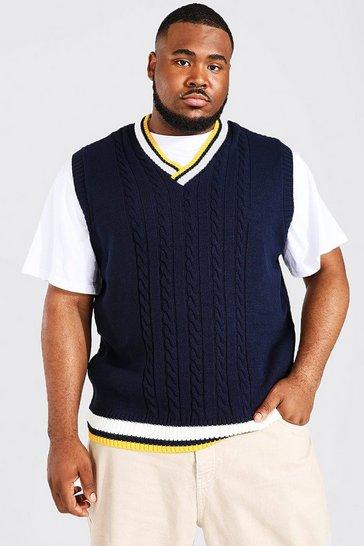 Navy Plus Size Varsity Basic Cable Knitted Vest