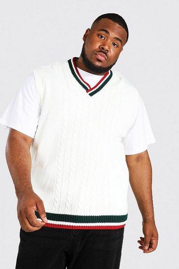 Ecru white Plus Size Varsity Basic Cable Knitted Vest