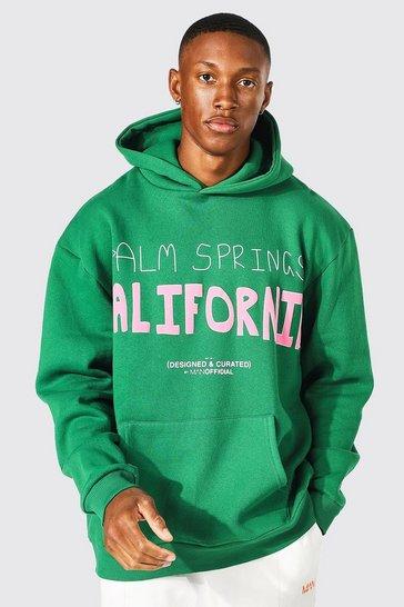 Green Oversized California Puff Print Hoodie