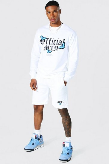 White Oversized Official Man Short Tracksuit