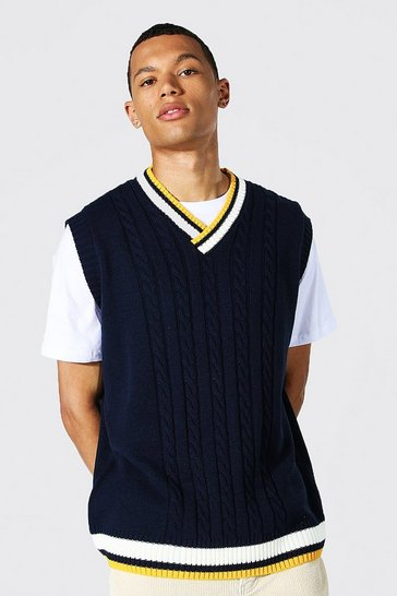Navy Tall Varsity Basic Cable Knitted Vest