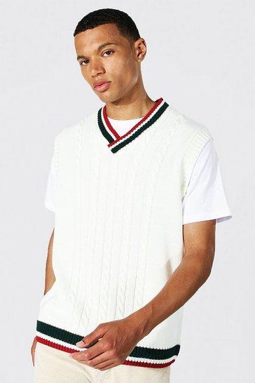 Ecru white Tall Varsity Basic Cable Knitted Vest