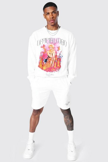White Oversized Official Short Sweater Tracksuit