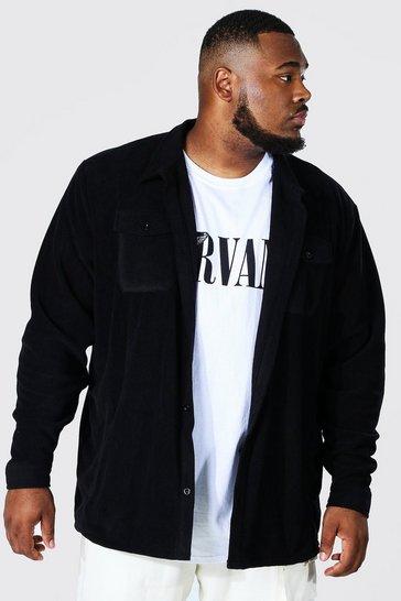 Black Plus Long Sleeve Polar Fleece Overshirt