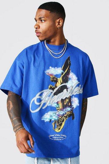 Cobalt blue Oversized Heartless Extended Neck T-shirt