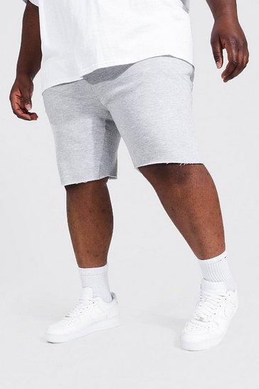 Grey Plus Size Raw Hem Jersey Short