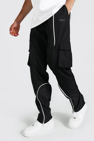Black Tall Straight Leg Cargo Trouser With Zips
