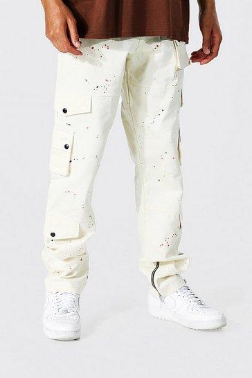 Ecru white Tall Relaxed Fit Paint Splatter Cargo Trouser