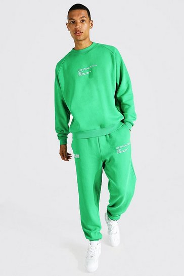 Green Tall Butterfly Back Print Sweater Tracksuit