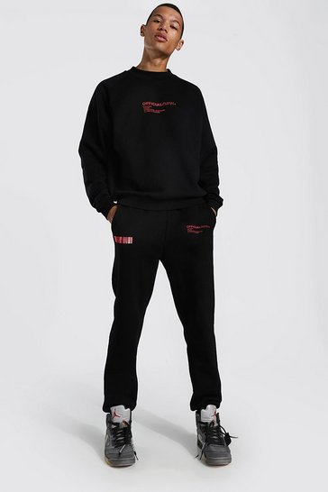Black Tall Butterfly Back Print Sweater Tracksuit