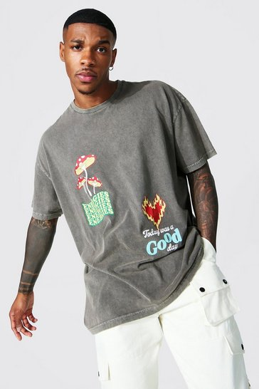 Brown Oversized Overdyed Slogan Printed T-shirt