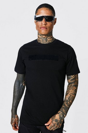 Black Slim Fit Official Man Shine Print T-shirt