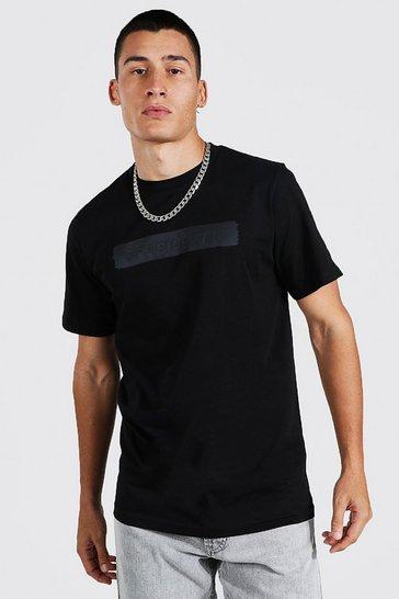 Black Slim Fit Official Man Matte Print T-shirt