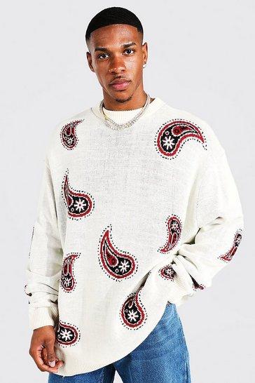 Cream white Oversized Paisley Knitted Jumper
