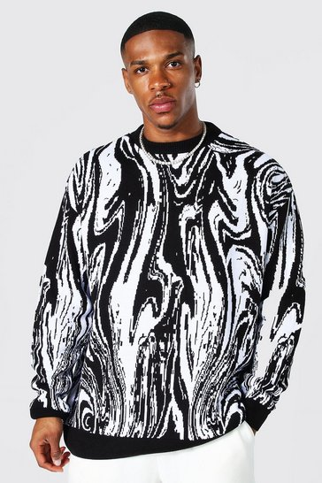 Black Oversized Marble Knitted Jumper