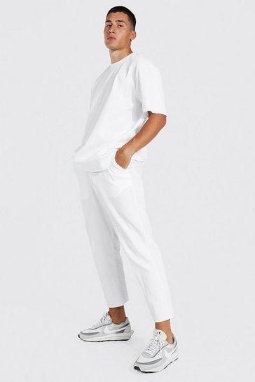 White Pleated T-shirt & Jogger Set