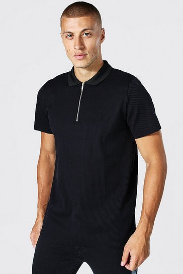 Black Slim Fit Pleated Zip Neck Polo