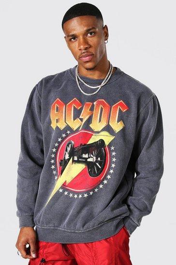 Charcoal grey Oversized Acid Wash Acdc License Sweatshirt