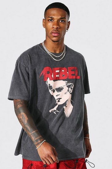 Charcoal grey Oversized Acid Wash Bowie License T-shirt