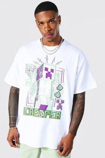 White Oversized Minecraft Creeper License T-shirt