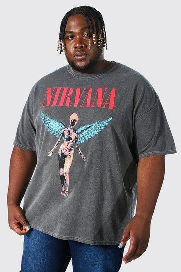 Charcoal grey Plus Acid Wash Nirvana T-shirt