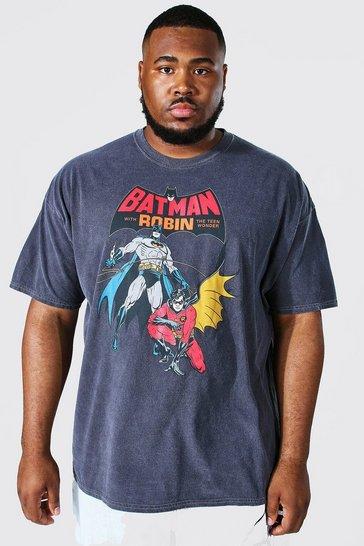 Charcoal grey Plus Acid Wash Batman License T-shirt