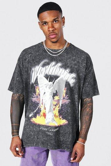 Charcoal grey Oversized Tour Print Acid Wash T-shirt