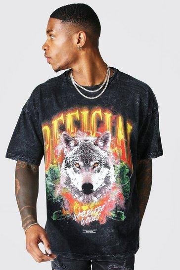 Charcoal grey Oversized Official Graphic Acid Wash T-shirt
