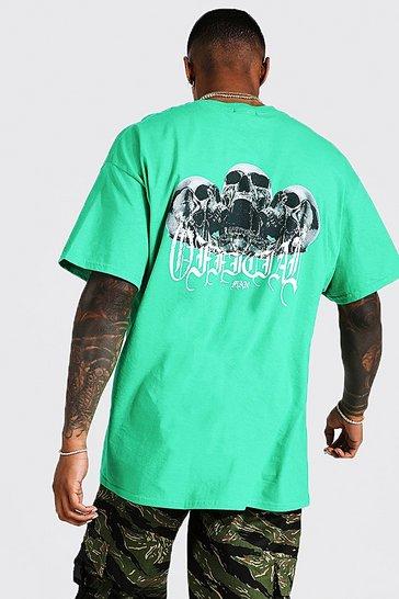 Green Oversized Skull Front & Back Print T-shirt