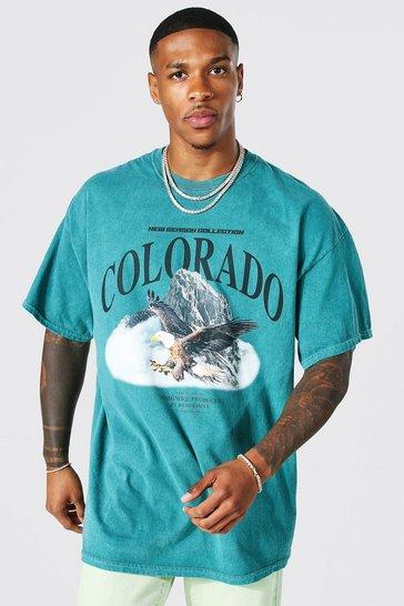 Green Oversized Overdyed Colorado Print T-shirt