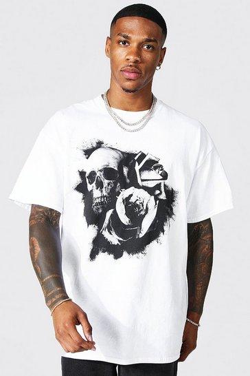 White Oversized Floral Skull Print T-shirt