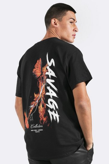 Black Overszied Butterfly Back Print T-shirt