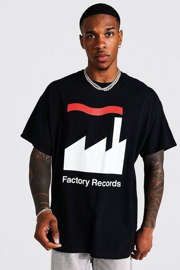 Black Oversized Factory Records License T-shirt