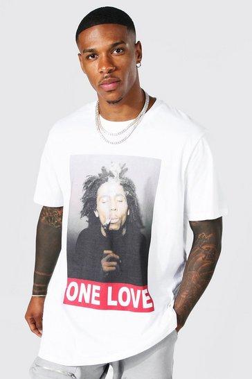 White Oversized Bob Marley One Love License T-shirt